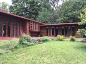 "The Jacobs I house features many of Frank Lloyd Wright's innovations – car port (he invented the name), track lighting, radiant heating, modular ""sandwich"" wall panels, exterior doors that open full width including at the corner and other new ideas. July 16th, 2016, in Madison, WI."